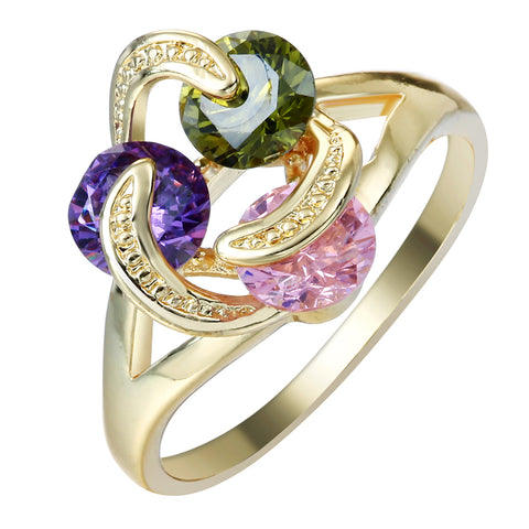 trendy colorful cz crystal gold color flower design ring for women