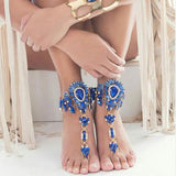 luxury colorful crystal crochet foot chain anklet for women