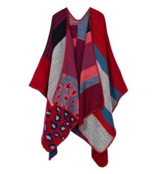 casual colorful print knitted long poncho scarf for women