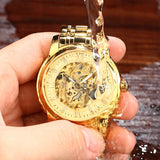 elegant mechanical skeleton dial stainless steel wrist watch for men