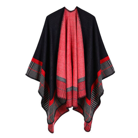 casual colorful striped long thick poncho scarf for women