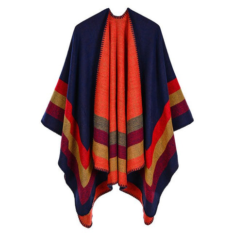 trendy colorful striped woolen long poncho scarf for women