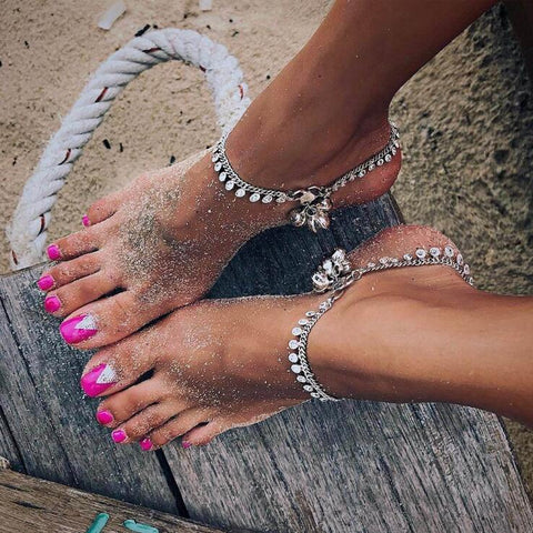 bohemian silver color metal bells charms anklet for women