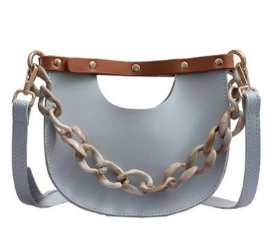 trendy pu leather messenger chain shoulder bag for women