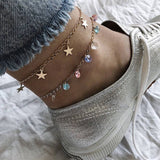 trendy colorful crystal beads & stars pendant double layer anklet