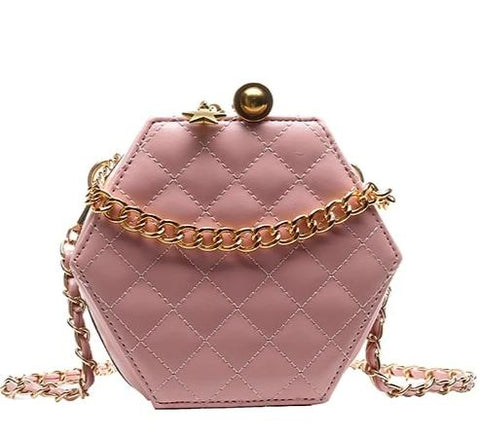 elegant leather & metal chain shoulder bag for women