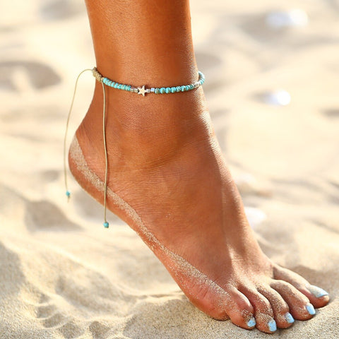simple nature blue stone beaded chain anklet