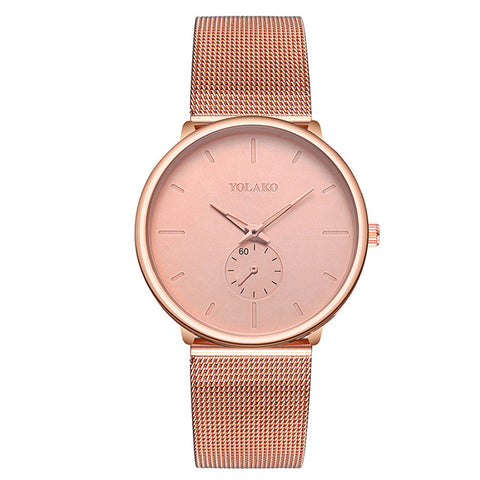 casual minimal design dial steel mesh band quartz wrist watch