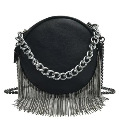trendy pu leather chain tassel shoulder bag for women