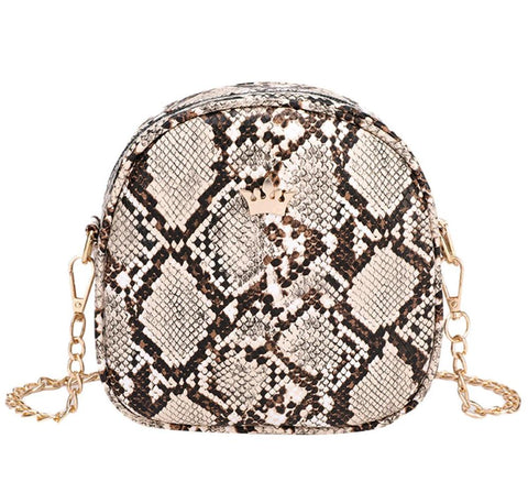 elegant snake skint pattern leather chain shoulder bag for women