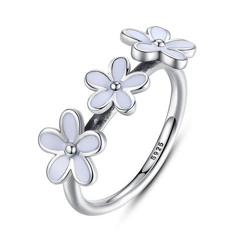 925 sterling silver daisy flower ring for women