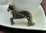 antique bronze chain tassel horse rhinestone brooch pin for women