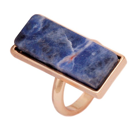 geometric rectangle blue natural stone ring for women