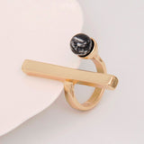 simple long bar and marbled faux stone ring for women