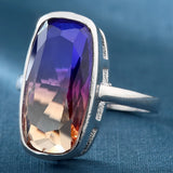trendy rainbow color square stone ring for women