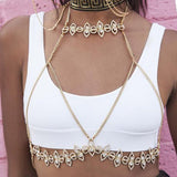 vintage rhinestones hollow link chain bra harness body jewelry