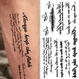 cool english sentences pattern temporary tattoo sticker