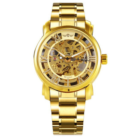 elegant golden mechanical skeleton dial steel wrist watch