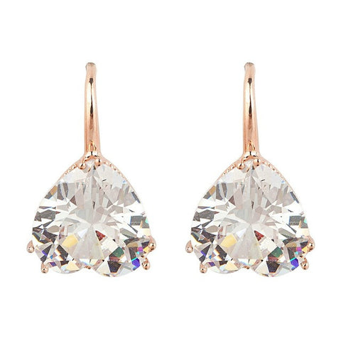 rose gold color crystal heart cubic zircon dangle earrings