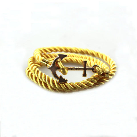 trendy braided rope with anchor shape bracelet