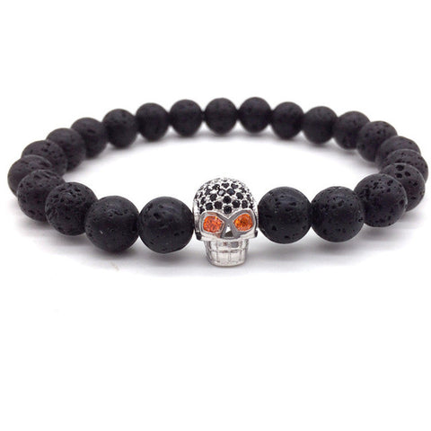 skull head lava stone bracelet for men