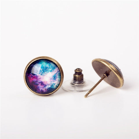 galaxy silver stud earrings