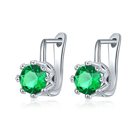 big round cut cubic zirconia earrings - very-popular-jewelry.com