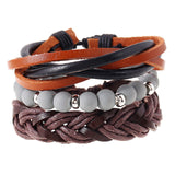 4pcs set punk weave wrap strand anchor genuine leather bracelet