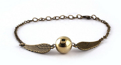golden snitch silver wings bracelet - very-popular-jewelry.com