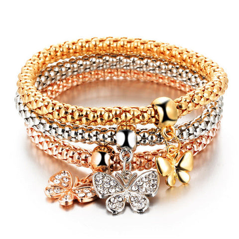 3 pcs/set crystal butterfly bracelet - very-popular-jewelry.com