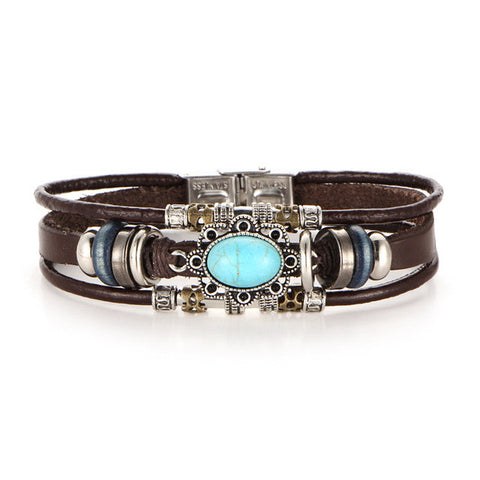 vintage multiple layers leather flower bracelet - very-popular-jewelry.com