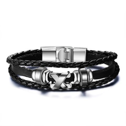 leather & stainless steel bracelet bangle for men - very-popular-jewelry.com