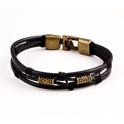 latin rope chain leather and hide metal buckle bracelet - very-popular-jewelry.com