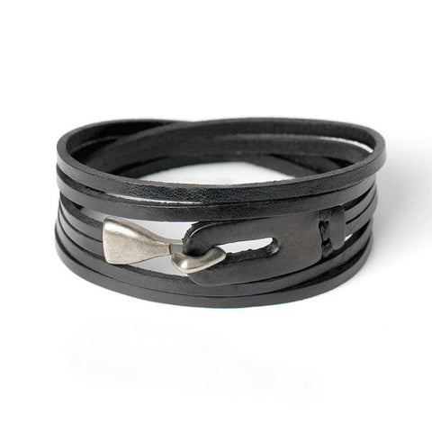 genuine leather hook bracelet for men - very-popular-jewelry.com
