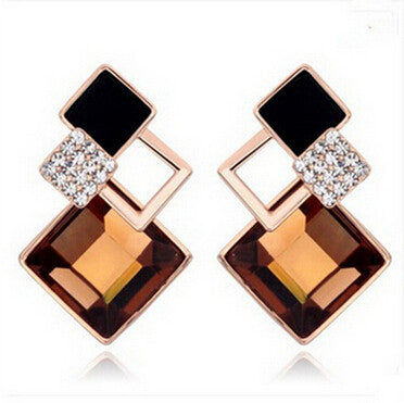 trendy colorful crystal square stud earrings for women