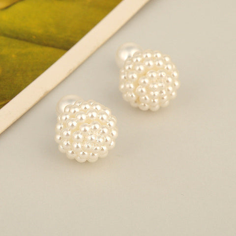 double side grape intimation pearl stud earrings