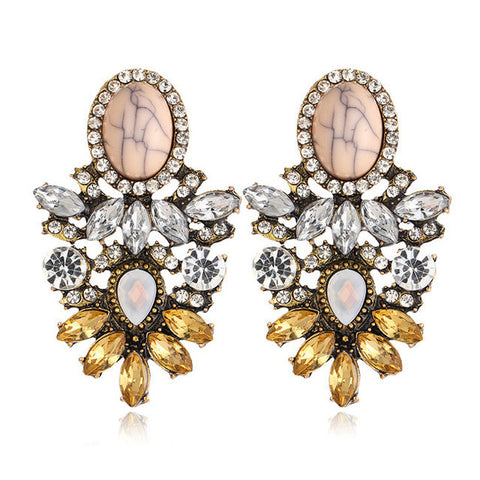 vintage big crystal flower drop earrings for women