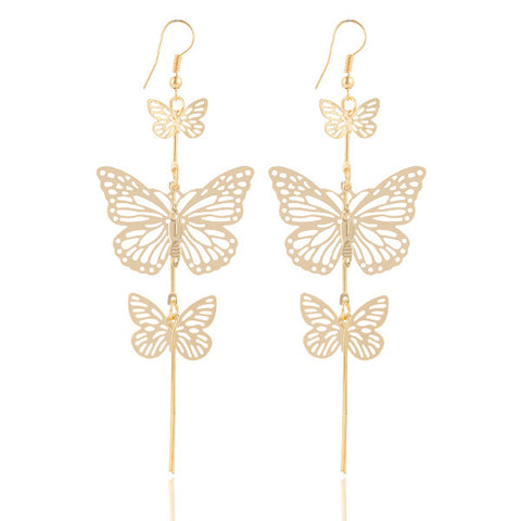 gold color alloy double bow butterfly drop earrings