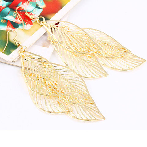 hollow flower gold color leaf drop earrings - very-popular-jewelry.com