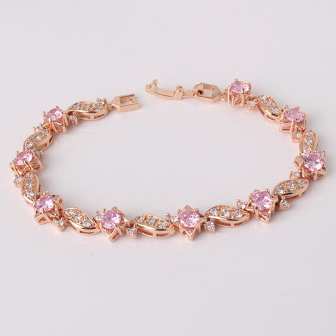 gold color bracelet round crystal cubic zirconia - very-popular-jewelry.com