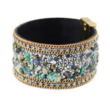 stones & leather bangle bracelet with magnetic clasp - very-popular-jewelry.com