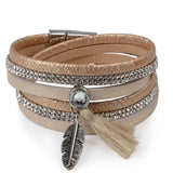 rhinestone feather wide multilayer leather bracelet - very-popular-jewelry.com