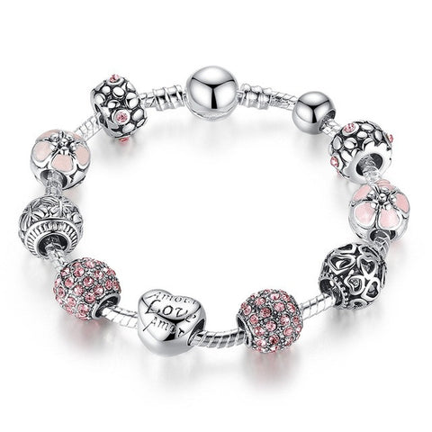 silver color charm bracelet with love and flower crystal ball