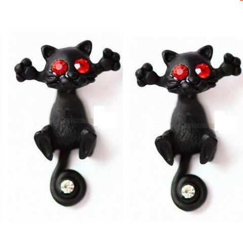 cute kitten piercing ear stud earrings - very-popular-jewelry.com