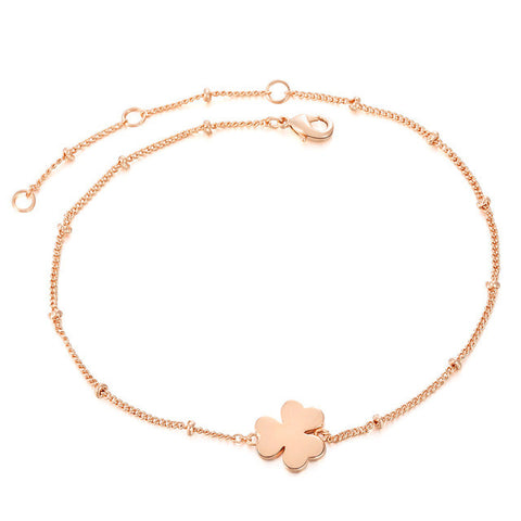 clover charm rose gold color bracelet - very-popular-jewelry.com