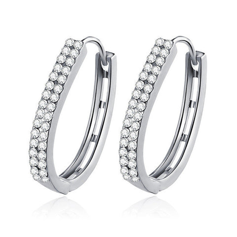 u shape crystal stud earrings for women