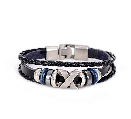 braided wrap anchor bracelet - very-popular-jewelry.com