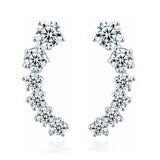silver color stars element crystal earrings