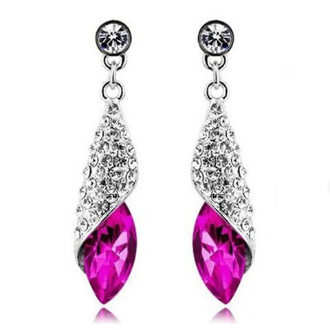 silver color water drop cubic zircon crystal earrings