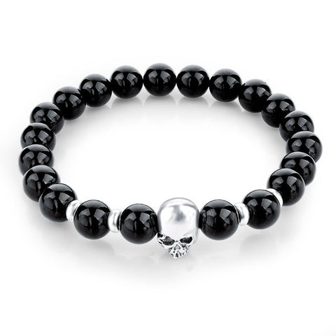 natural stone lava beads skull bracelet & bangle - very-popular-jewelry.com